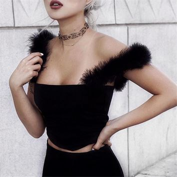 malianna Summer Women Fashion Faux Fur Crop Top Slim Feathers Strap Camis Black Tank Top Sexy Backless Bustier Camisole