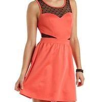 Heart-Dotted Mesh Cut-Out Skater Dress by Charlotte Russe - Coral