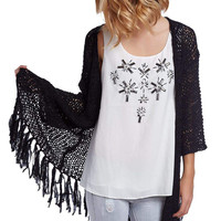 Q2 Black Longline Knitted Jacket With Fringing