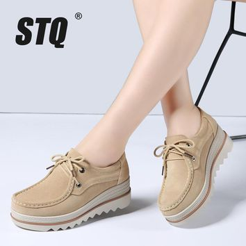 STQ 2018 Spring women flats thick soled leather suede platform sneakers shoes female casual shoes lace up flats creepers 3089