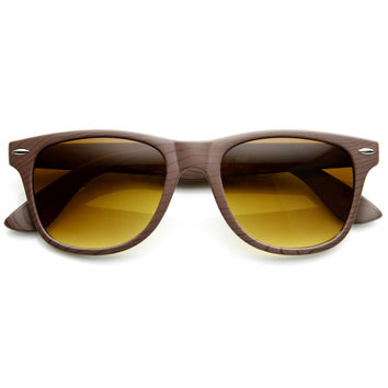 Indie Fashion Wood Print Horned Rim Sunglasses 8811