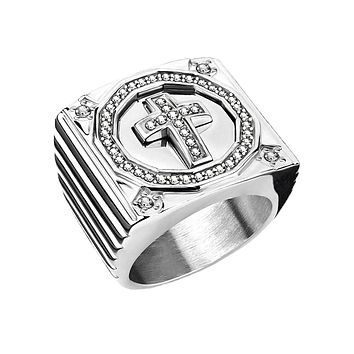Walk by Faith - Men's Stainless Steel Square Face Statement Ring with CZ Paved Cross