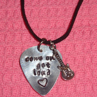 Come On Get Loud (R5) Guitar Pick Necklace with Guitar Charm (Silver)