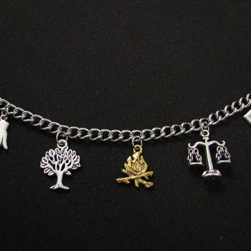 DIVERGENT INSPIRED CHARM Bracelet - With 5 Charms