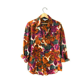 20% OFF SALE...80s silk shirt. floral silk blouse. oversized shirt.