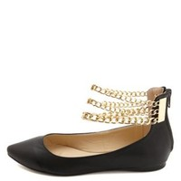 Triple Ankle Chain Pointed Toe Flats by Charlotte Russe - Black
