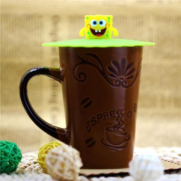 1pcs Cute Cartoon Silicone Drink Cup Cover Coffee Tea Suction Seal Lid Cap Silicone Cup Cover Creative
