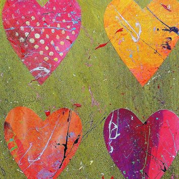 Abstract Heart Painting Original Modern Art Love Hearts Earthy Rich Jewel Colors Green Orange Red Paint Splashes Collage Romantic Minimal