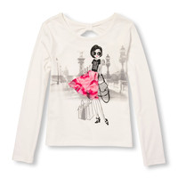 Girls Long Sleeve Embellished Graphic Bow-Back Top | The Children's Place