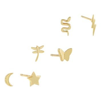 Solid Mismatched Stud Earring Combo Set