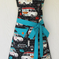 Food Truck Apron, Hot Dogs, Vintage Style Kitchen Apron, KitschNStyle