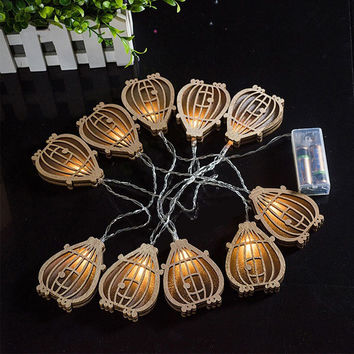 10pcs/set LED Fairy Festival Lights Vintage Wooden Pumpkin String Lights Decorative String Lights for Halloween Outdoor Lights
