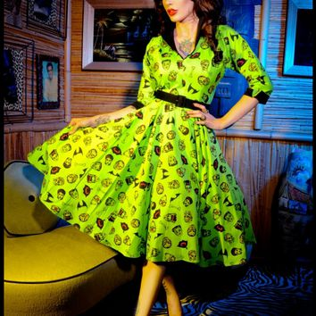 Deadly Dames- Horror Housewife Dress in Limited Edition Monster Print | Pinup Girl Clothing