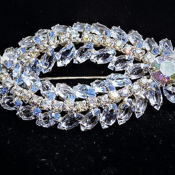 Vintage Juliana DeLizza Elster D & E Rhinestone Brooch Blue Navette Brooch Verified D and E Something Old Blue Bride Hollywood Mid Century
