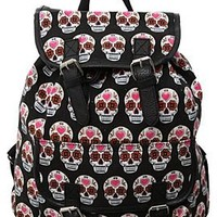 Sugar Skull Cinch Canvas Backpack - 872100