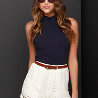 Queen of the Tassel Cream Lace Shorts