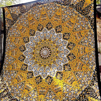 LARGE yellow star mandala psychedelic tapestry, hippie bohemian wall hanging tapestries, bedspread queen throw ethnic home decor