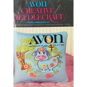 Blue Moo Pillowcase - Crewel Embroidery Kit