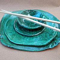 Ceramic malachite sushi set