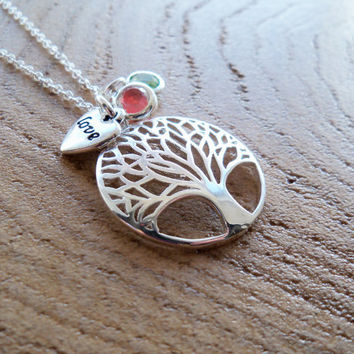 Family Tree of Life Love Necklace, Love Charm, Mother's Pride, Love for Family, Silver Tone, Family Tree Necklace, Birthstone Necklace, Gem