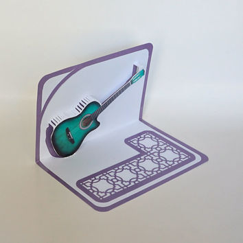 Green ACOUSTIC GUITAR 3D Pop Up Card ORIGINAL Design American Idol Music Lovers Handmade in White and Metallic Shimmery Purple OOaK