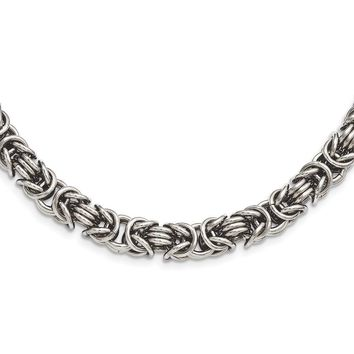 Men's Stainless Steel 7mm Byzantine Link Chain Necklace