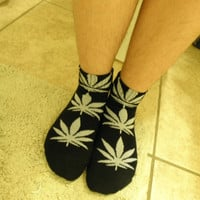 Pot Leaf Women's Ankle Stoner Socks in Black and Grey / Pot Head Weed Marijuana Cannibis