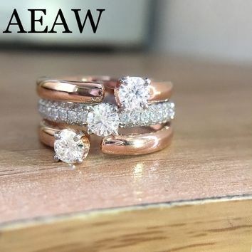 14K Rose and White Gold 1.5ctw DF Round Moissanite Engagement Ring Set Band lab Diamond Solitaire Wedding for Women (3 Ring)