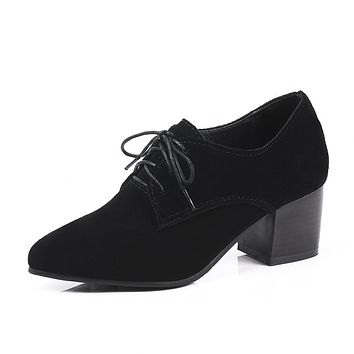Genuine Leather Lace Up High Heel Shoes Woman 4604