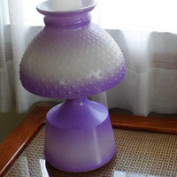 1950s EAGLE OIL LAMP/Purple Hob Nail Milk Glass Oil Lamp/Vintage Art Deco Lamp/Parlor Lamp/Lavender Base N Shade Glass