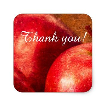 Three Red Apples Square Sticker