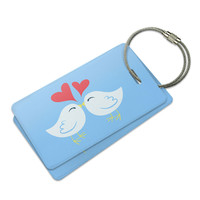 Sweet Kissing Birds in Love Blue Luggage Tag Set