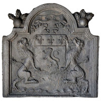 French Louis XIV Period Cast Iron Fireback, Dated 1683