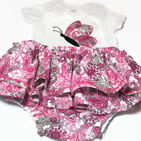Diaper Cover Set - Baby Girl Outfit - Butterfly Onesuit Set - Skirted Diaper Cover