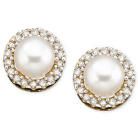 10k Gold Earrings, Cultured Freshwater Pearl and Diamond Accent - Earrings - Jewelry & Watches - Macy's