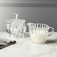 Bloom Glass Creamer and Sugar Bowl with Lid Set