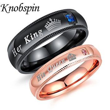 Romantic King Queen Lover Ring for Women Men Fashion Cubic Zirconia Couple Ring for Wedding Anniversary Engagement