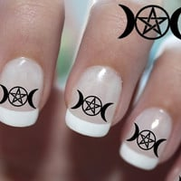 66 Pentacle In Triple Moon Symbols - NAIL ART Professional Results Waterslide Transfer Decals not Stickers or Vinyl