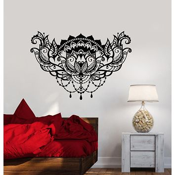 Vinyl Wall Decal Lotus Flower Ornament Room Decoration Stickers (3248ig)