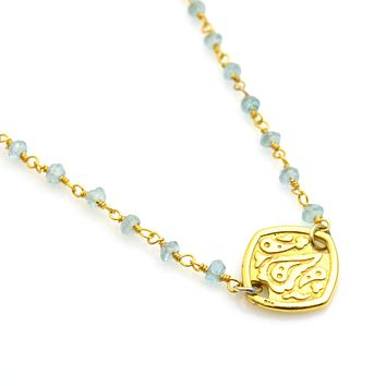 Gemstone Bead and Gold Single Station Necklace