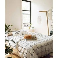 """Wonky Grid Duvet Cover,BLACK & WHITE,KING"" from Urban Outfitters 