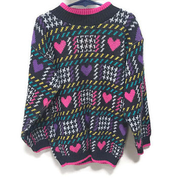 Vintage Kids Sweater, Hearts Sweater, Girls Vintage Sweater, Honors Sweater Warm Winter Sweater Kids Vintage Clothing Girls 6 7 Unisex Kids