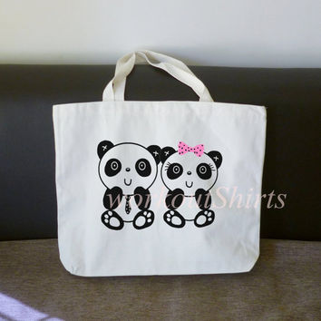 Panda lovers tote bag 18x14 inch/ large cotton bag/ shopping bag/ grocery tote bag/ favors/ gifts