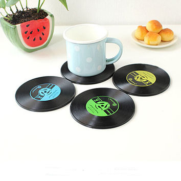 4 Pcs/set Retro Vinyl CD Record Drinks Coasters Table Cup Mat Coffee Placemat  Silicone Printed Pattern Anti-fade Home Decor