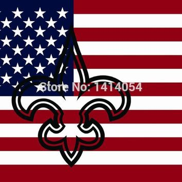 New Orleans Saints  Hollow Out Shape with US  Flag 150X90CM Banner 100D Polyester3x5 FT flag brass grommets 001, free shipping