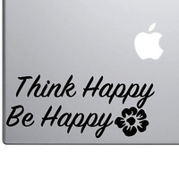 "Think Happy, Be Happy Motivational Sticker Decal MacBook Pro Air 13"" 15"" Laptop Decal Retro Vintage Inspirational Text Quote Sticker Flower"