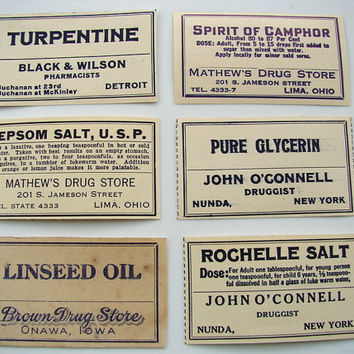 Vintage Medicine Bottle / Pharmacy Labels from the by ThirdShift