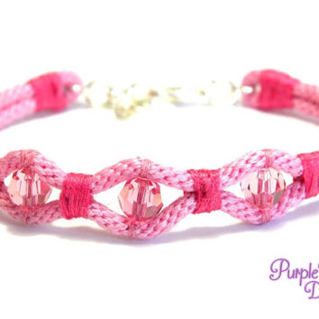 WAVE Kumihimo Bracelet with Crystal Beads, Braided Rope Bracelet with Swarovski Beads - Light Rose