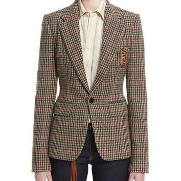 Ralph Lauren Collection Haden Houndstooth Plaid Blazer