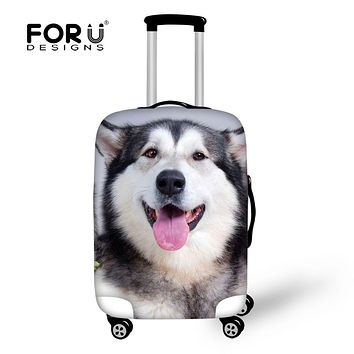 FORUDESIGNS Fashion Spandex Animal Husky Printing Travel Luggage Cover Elastic 18-30 inch Anti-dust Suitcase Cover with Zipper